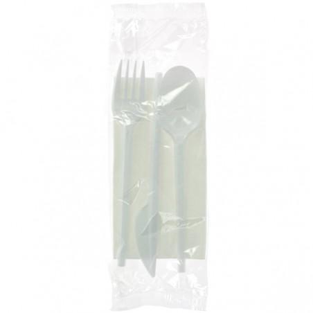 Besteckset Messer, Gabel, Löffel und Serviette weiß (500 Stück)