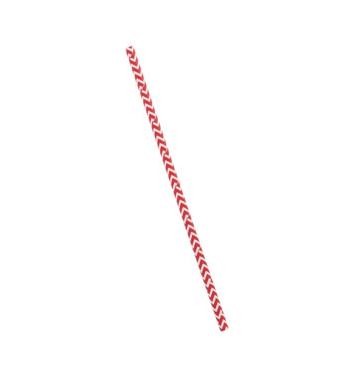 Trinkhalme Paper Starr Rot und Weiß Ø6mm 20cm (100 Stück)