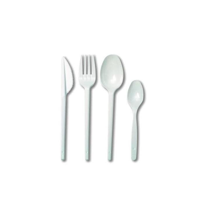 Besteckset  Messer, Gabel, Löffel und Teelöffel weiß (500 Stück)