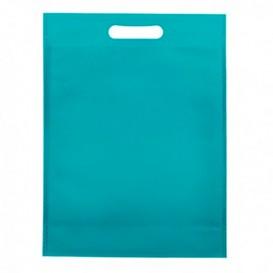 Tragetashe Heissgesiegelt mit Bondenfalte Aquamarinblau 17x22,5+5cm 80g (25 Stück)