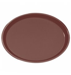 Plastiktablett Oval Rutschfeste Braun 67,0x55,5cm (6 Stück)