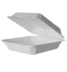MenuBox Zuckerrohr weiß mit PLA 23x23x7,5cm (50 Stk.)