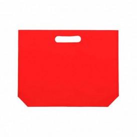 Vliestaschen Wiederverwendbar Stanzgriff Non Woven Rot 34+8x26cm 80g (25 Stück)