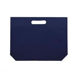 Vliestaschen Wiederverwendbar Stanzgriff Non Woven Marinblau 34+8x26cm 80g (25 Stück)