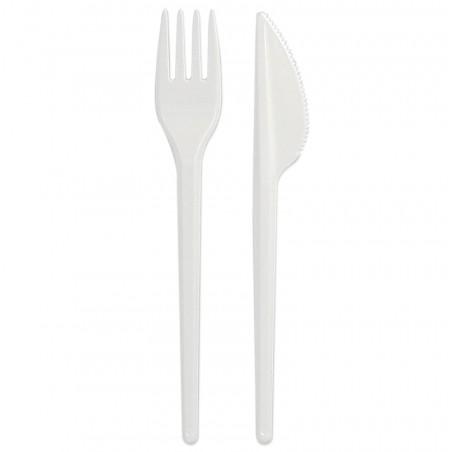 Besteckset Messer und Gabel Weiß (500 Stück)
