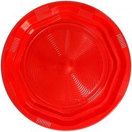 Plastikteller Rund Hart Achtecking Rot Ø17cm (425 Stück)