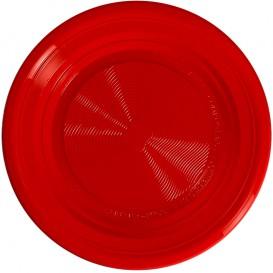 Maisstärke Teller PLA flach Rot Ø170 mm (25 Stück)