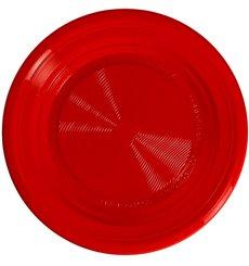 Maisstärke Teller PLA flach Rot Ø220 mm (25 Stück)