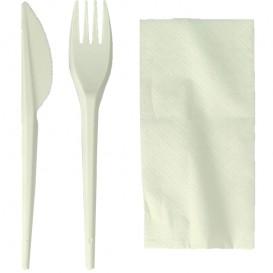 Besteckset Gabel, Löffel weiß Maisstärke PLA und Serviette (100 Stück)
