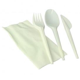 Besteckset Messer, Gabel, Löffel weiß Maisstärke PLA und Serviette (250 Stück)