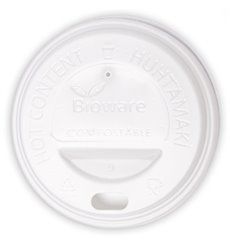 Deckel aus PLA für Pappbecher 6Oz/8Oz weiß Ø7,0cm (100 Stück)
