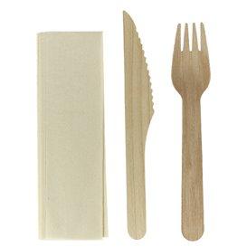 Besteckset aus Holz Gabel, Messer und Serviette (25 Stück)