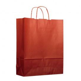 Papiertüten Kraft rot mit Henkeln 25+11x35cm (25 Stück)