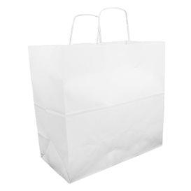 Papiertüten Kraft weiß mit Henkeln 35+15x30cm (25 Stück)