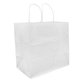 Papiertüten Kraft weiß mit Henkeln 30+18x29cm (25 Stück)