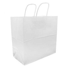 Papiertüten Kraft weiß mit Henkeln 27+14x26cm (25 Stück)