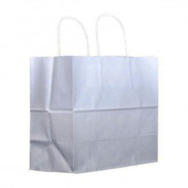 Papiertüten Kraft weiß mit Henkeln 27+14x26cm (200 Stück)