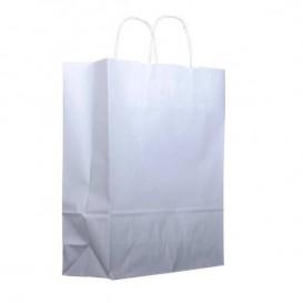 Papiertüten Kraft weiß mit Henkeln 25+11x31cm (25 Stück)