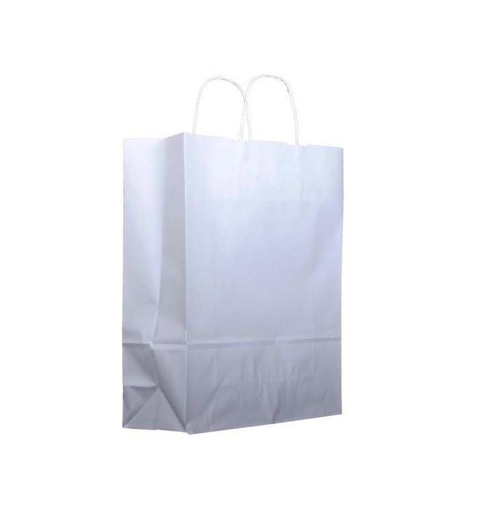 Papiertüten Kraft weiß mit Henkeln 32+12x41cm (25 Stück)