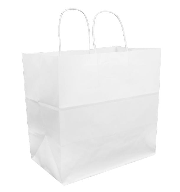 Papiertüten Kraft weiß mit Henkeln 30+18x29cm (200 Stück)
