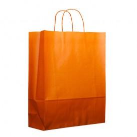 Papiertüten Orange mit Henkeln 26+14x32cm (50 Stück)