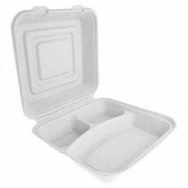 Menübox Zuckerrohr Weiß 3-Geteilt 24x23x7,6cm (200 Stück)