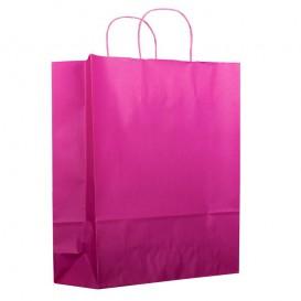 Papiertüten pink mit Henkeln 26+14x32cm (50 Stück)