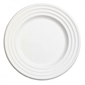 Zuckerrohrteller Premium Wave Weiß Ø18cm (50 Stück)