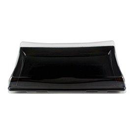 Plastikplatte schwarz mit Deckel PET 12x22cm (15 Stück)
