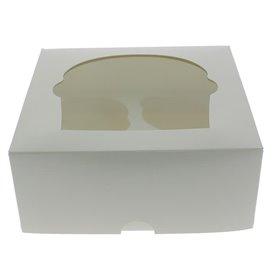 Cupcake Box für 4 Cupcakes 17,3x16,5x7,5cm weiß (140 Stück)