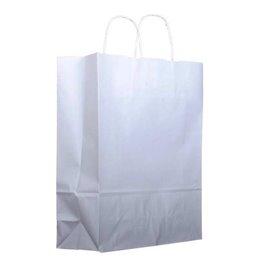 Papiertüten Kraft weiß mit Henkeln 25+13x33cm (200 Stück)