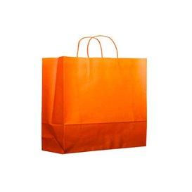 Papiertüten Orange mit Henkeln 20+10x29cm (25 Stück)