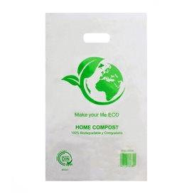 Plastiktüten mit Griffloch 100% bio-abbaubar 20x33cm (100 Stück)