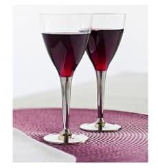 Weinglas Plastik mit silbernem Fuß 130ml (10 Stück)