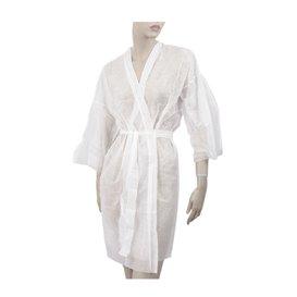 Einweg Kittel Kimono in TST PP mit Tasche Weiß XL (10 Stück)