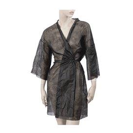 Einweg Kittel Kimono in TST PP mit Tasche Schwarz XL (100 Stück)