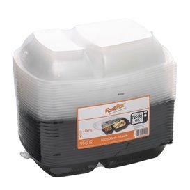 Plastikbehälter PP schwarz 2F mit deckel 1300ml 28x20cm (15 Stück)