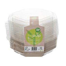 Oktogonaler Zuckerrohr Behälter mit deckel 830 ml 23x23cm (90 Stück)