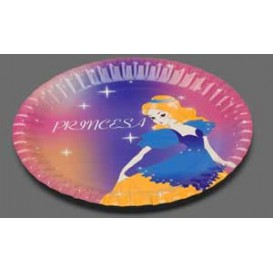 Plato Carton 18 cm. Diseño Princesas (Caja 504 unidades)