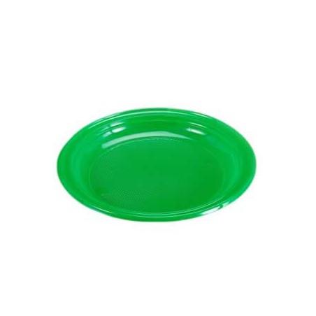 Plato de Plastico Llano 205mm color Verde (960 Uds)