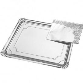 Pappschale rechteckig Silber 25x34cm (200 Einh.)