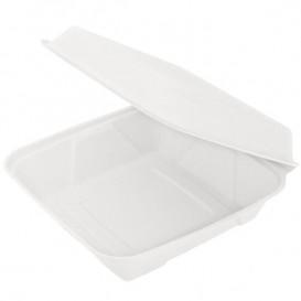 Zuckerrohr-Fasern Menübox Weiß 232x238x85mm (50 Einh.)