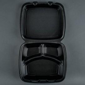 Verpackung Menübox FOAM Schwarz 3-geteilt (100 Einh.)