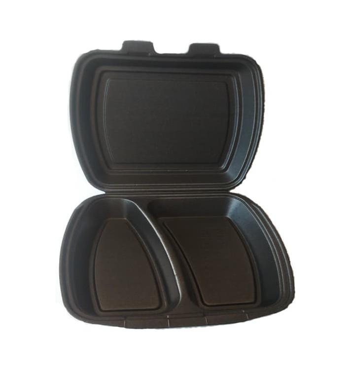 Verpackung Menübox FOAM Schwarz 2-geteilt (100 Einh.)