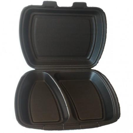 Verpackung Menübox Styropor Schwarz 2-geteilt (125 Stück)