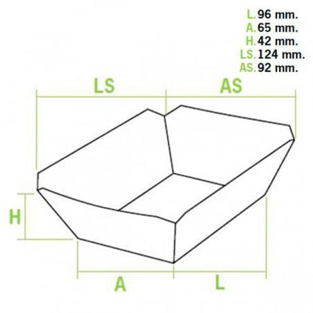 Pappe Pommesschale 250ml 9,6x6,5x4,2cm (50 Einheiten)