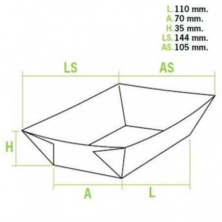 Pappe Pommesschale 300ml 11x7x3,5cm (50 Einheiten)