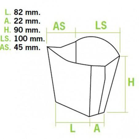 Kleiner Pommes Schütte Faltbox Verpackung 8,2x3,1x9cm (50 Einh.)