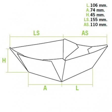 Pappe Pommesschale 350ml 15,6x13,2x3,6cm (50 Einheiten)