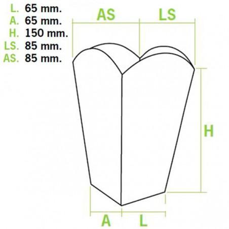 Kleiner Popcorn box weiß 45gr. 6,5x8,5x15cm (50 Einh.)